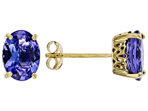 Blue Oval Tanzanite 18k Yellow Gold Stud Earrings 2.13ctw