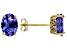 Blue Oval Tanzanite 18k Yellow Gold Stud Earrings 2.13ctw