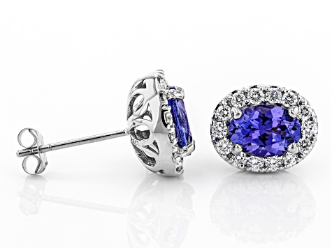 Blue Tanzanite Rhodium Over 18k White Gold Earrings 1.67ctw