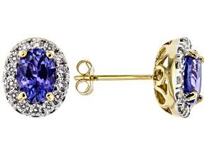 Blue Tanzanite 18k Yellow Gold Stud Earrings 1.67ctw