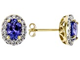 Blue Tanzanite 18k Yellow Gold Stud Earrings 1.67ctw