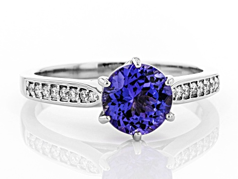Blue Tanzanite Rhodium Over 18k White Gold Ring 1.24ctw