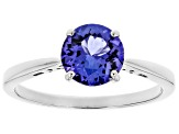 Blue Tanzanite Solitaire Rhodium Over 18k White Gold Ring 1.15ct