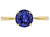Blue Tanzanite Solitaire 18k Yellow Gold Ring 1.15ct