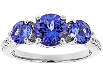 Picture of Blue Tanzanite Rhodium Over 18k White Gold Ring 2.15ctw