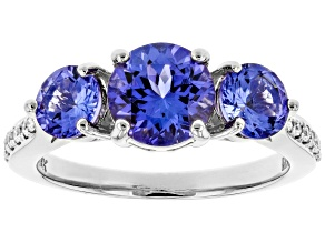 Blue Tanzanite Rhodium Over 18k White Gold Ring 2.16ctw