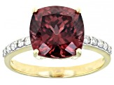 Pink Blush Color Zircon 14k Yellow Gold Ring 5.27ctw