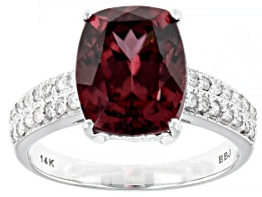 Blush Zircon Rhodium Over 14k White Gold Ring 4.99ctw