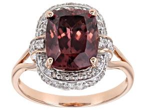 Pink Blush Color Zircon 14k Rose Gold Ring 4.06ctw