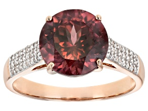 Pink Blush Color Zircon 14k Rose Gold Ring 4.39ctw