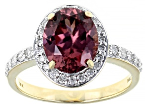 Pink Blush Zircon 14k Yellow Gold Ring 3.39ctw