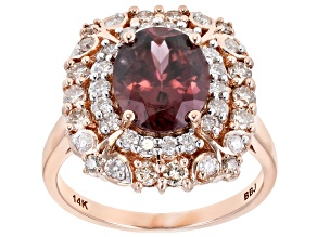 Pink Blush Zircon 14k Rose Gold Ring 3.84ctw
