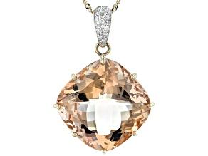 Peach Cor-De-Rosa Morganite™ 14k Rose Gold Pendant With Chain 24.74ctw