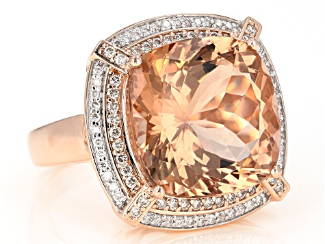 Pink morganite 14k rose gold ring 14.38ctw