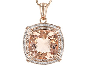 Pink morganite 14k rose gold pendant with chain 14.38ctw
