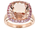 Pink morganite 14k rose gold ring 9.27ctw