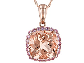 Pink Morganite 14k Rose Gold Pendant With Chain. 9.45ctw