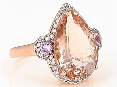 Pink morganite 14k rose gold ring 7.11ctw