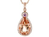Pink morganite 14k rose gold pendant with chain 5.54ctw