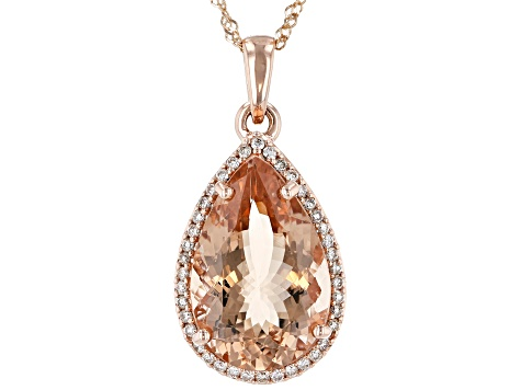 Peach Morganite 14k Rose Gold Pendant With Chain 6.84ctw