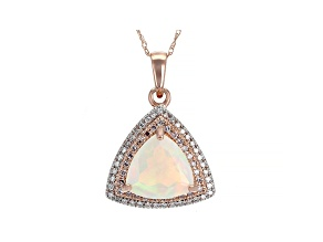 Ethiopian Opal 14K Rose Gold Pendant with Chain 1.69ctw