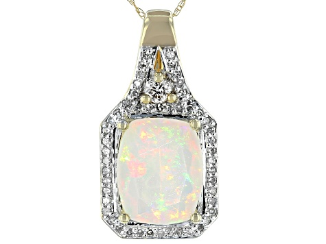 Ethiopian Opal 14K Yellow Gold Pendant with Chain