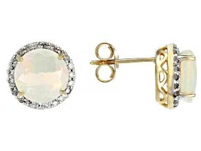 Ethiopian Opal 14K Yellow Gold Earrings 2.08ctw