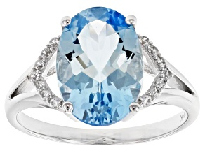 Blue Aquamarine Rhodium Over 14k White Gold Ring. 3.59ctw