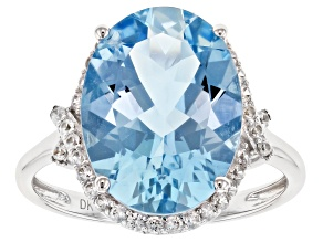 Blue Aquamarine Rhodium Over 14k White Gold Ring. 14.38ctw