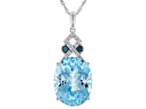 Blue Aquamarine Rhodium Over 14K White Gold Pendant With Chain 9.65ctw