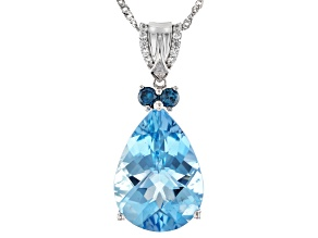 Blue Aquamarine Rhodium Over 14K White Gold Pendant With Chain 6.99ctw