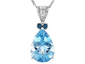 Blue Aquamarine Rhodium Over 14K White Gold Pendant With Chain 6.99ctw