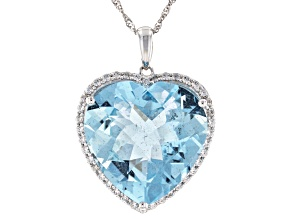 Blue Aquamarine Rhodium Over 14K White Gold Heart Pendant With Chain. 12.75ctw