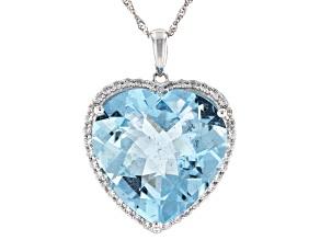 Blue Aquamarine Rhodium Over 14K White Gold Heart Pendant With Chain. 12.75ctw