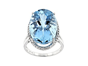 Blue Aquamarine Rhodium Over 14k White Gold Ring 14.46ctw