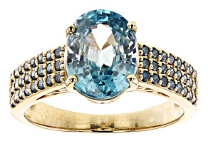 Blue Zircon 14k Yellow Gold Ring 4.08ctw