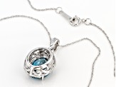 Blue Zircon Rhodium Over 14k White Gold Pendant With Chain 3.99ctw