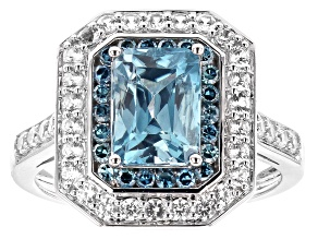 Blue Zircon Rhodium Over 14K White Gold Ring 3.03ctw