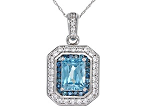 Blue Zircon Rhodium Over 14K White Gold Pendant With Chain