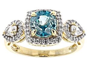 Blue Zircon 14K Yellow Gold Ring 2.18ctw