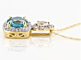 Blue Zircon 14k Yellow Gold Pendant With Chain 1.90ctw