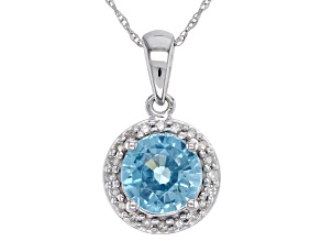 Blue Zircon Rhodium Over 14k White Gold Pendant With Chain 2.07ctw