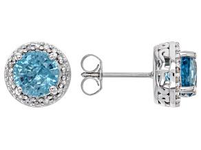 Blue Zircon Rhodium Over 14k White Gold Earrings 3.25ctw