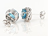Blue Zircon Rhodium Over 14k White Gold Earrings 3.25ctw