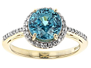 Blue Zircon 14k Yellow Gold Ring 3.04ctw