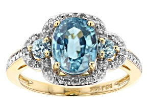 Blue Zircon 14k Yellow Gold Ring 3.48ctw