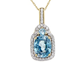 Blue Zircon 14k Yellow Gold Pendant With Chain 3.14ctw