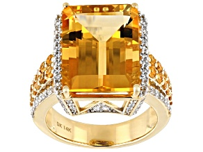 Golden Citrine 14k Yellow Gold Ring 11.02ctw