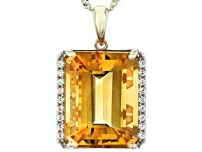 Golden Citrine 14k Yellow Gold Pendant With Chain 10.52ctw