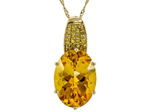 Golden Citrine 14k Yellow Gold Pendant With Chain 10.82ctw